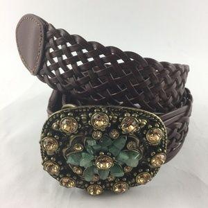 Buckle Your Belt Braided Leather w/ Gemstones